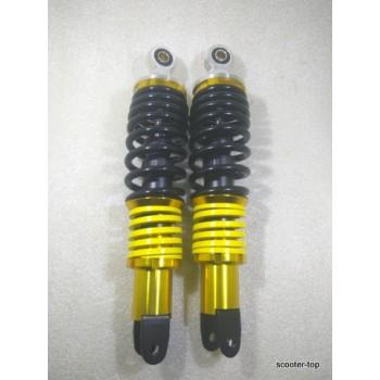 Амортизаторы (пара) универсальные регулируемые ТЮНИНГ черно-золотистые 10x8x300 2 пружины