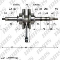 Коленвал 4Т 153FMI двигатель полуавтомат (h 55,5, p13mm) ACTIV, EX110 в сборе с подшипниками