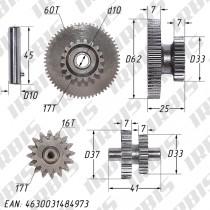 Шестерни электростартера 167FMM ZS (CG200), IRBIS ATV 200U