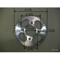 Звездочка ведомая стальная 428Нх43Т(4х63) CG125-150,CB125-150 h=7,2